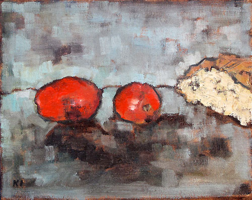 Tomato and Bread Still Life Painting