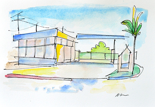 San Diego Watercolor Painting Kensington Gas Station