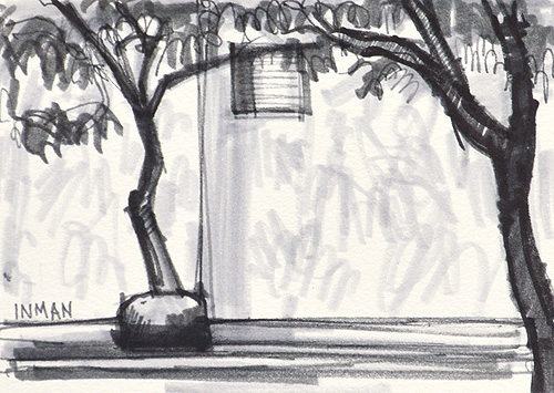 Hillcrest Watercolor Painting Black and White