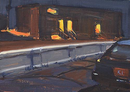 San Diego Night Painting Nocturne Georgia Street Bridge