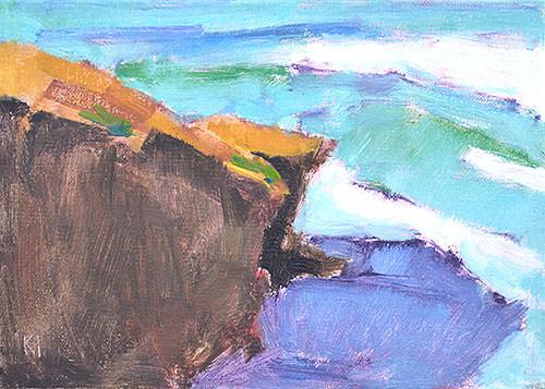 Ocean Beach Cliffs Plein Air Painting San Diego Kevin Inman