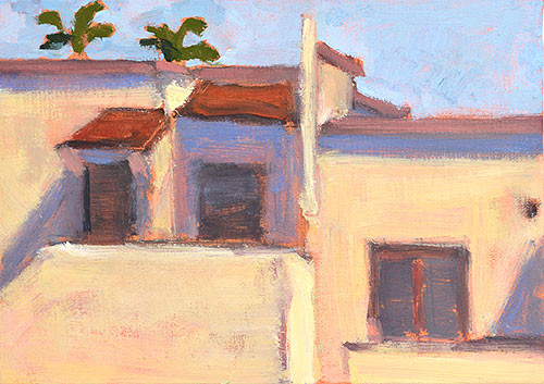 Houses in Hillcrest, San Diego Landscape Painting by Kevin Inman