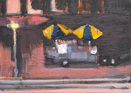 Hot Dog Stand At Night Painting by Kevin Inman San Diego