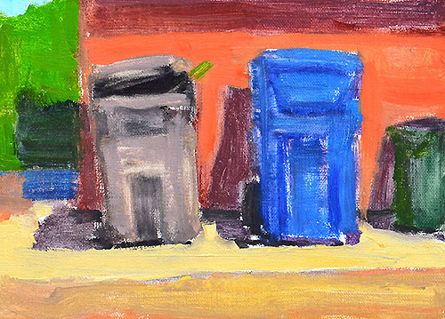 Trash Cans in the Alley Painting San Diego Plein Air by Kevin Inman