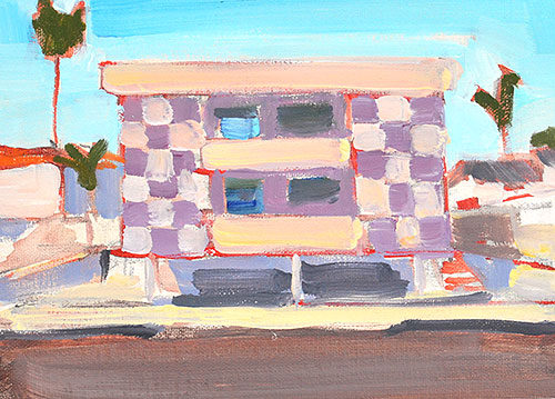 Dingbat Building Los Angeles Landscape Painting
