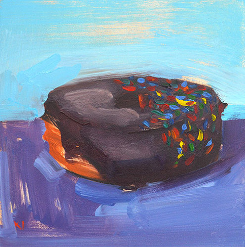 Chocolate Frosted Sprinkles Donut Painting by Kevin Inman