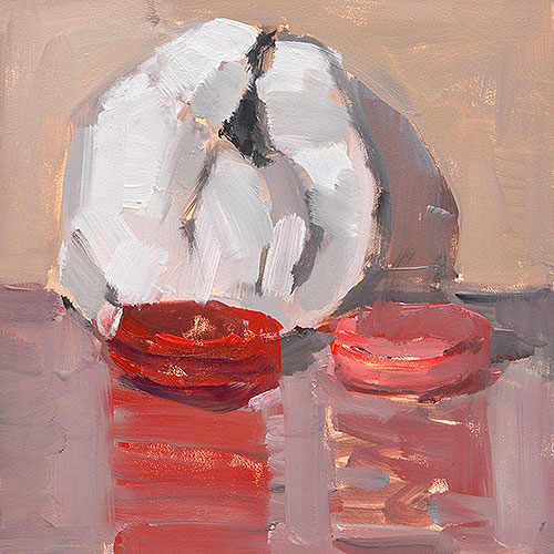 Ghost Croissant and Macarons Still Life Painting by San Diego Artist Kevin Inman