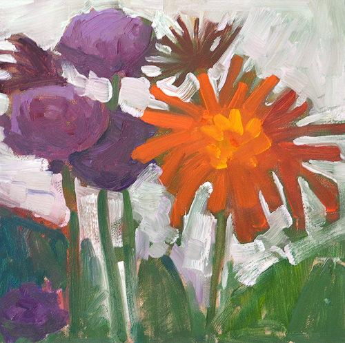 Chrysanthemums Floral Painting by Kevin Inman