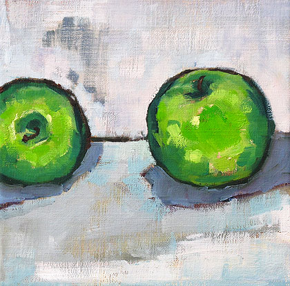 Green Apples Granny Smith Still Life Painting