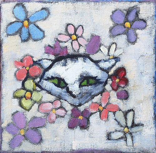 Cat With Flowers Painting