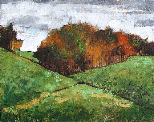 Virginia Autumn Leaves Landscape Painting