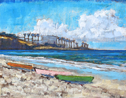 Kayaks on the Beach, La Jolla Painting