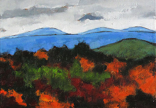 Virginia Mountain Landscape Painting Autumn Leaves