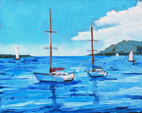 Sailboats on San Diego Bay Painting