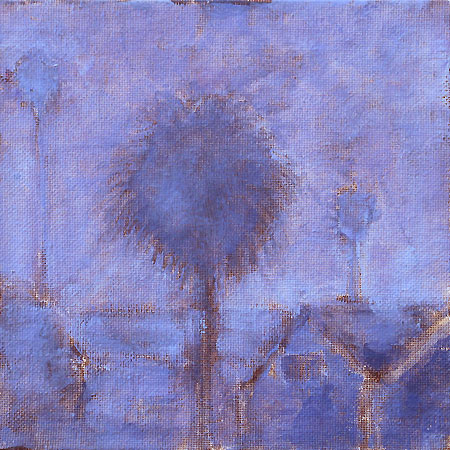 San Diego Painting Fog Palms Urban Landscape Purple
