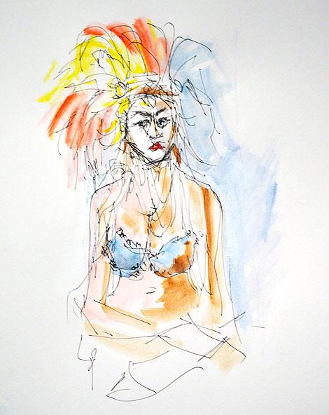 Girl with Fur Bikini and Feathers