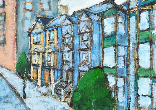 San Francisco Victorian Houses Painting
