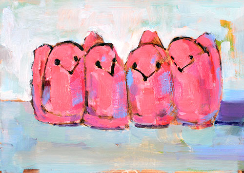 Pink Marshmallow Easter Peeps Painting
