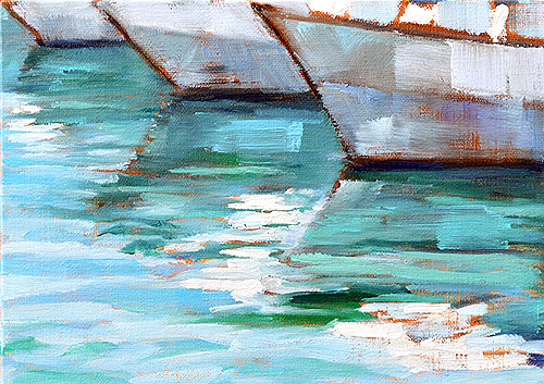 Sailboats water painting San Diego