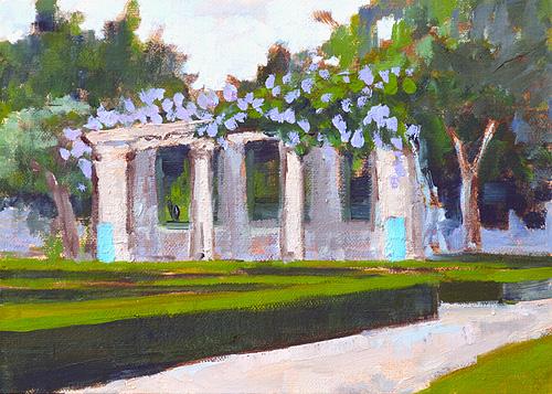 Gazebo with Flowers, Alcazar Garden San Diego Landscape Painting Balboa Park