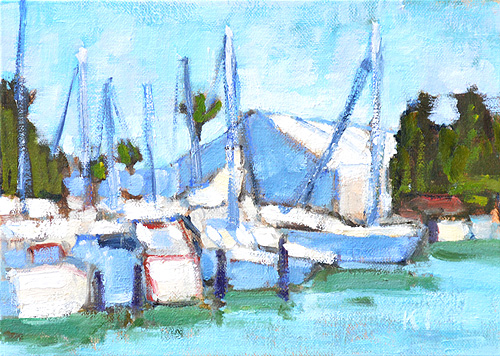 Boat Painting Shelter Island Marina San Diego Plein Air