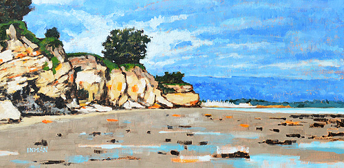 Leadbetter Beach Cliffs Santa Barbara Painting