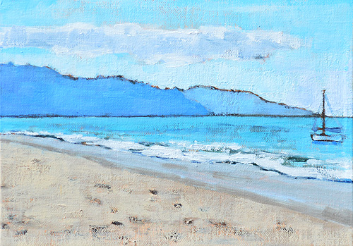 Santa Barbara Beach Painting Sailboat