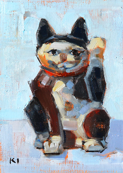 Maneki Neko Painting Japanese Beckoning Cat