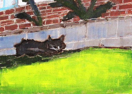 Cat in the Grass Painting