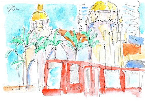 Santa Fe Depot San Diego Watercolor Painting