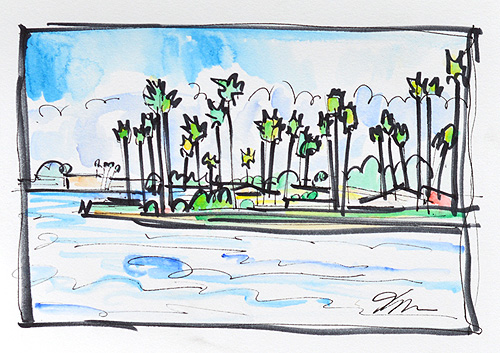 Mission Bay San Diego Watercolor