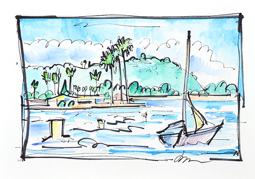 Sailboat on Mission Bay, San Diego Watercolor Painting