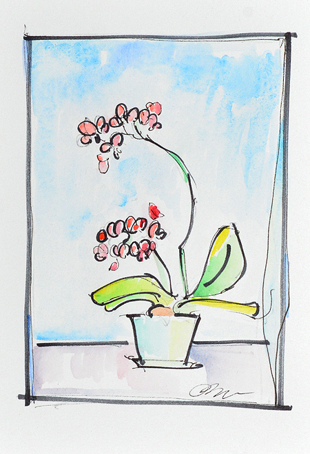 Orchid Still Life Watercolor Painting