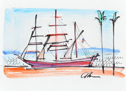 Star of India, San Diego Watercolor Painting