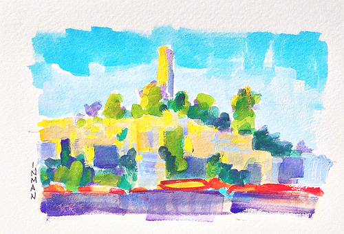 Coit Tower, Telegraph Hill San Francisco Painting Gouache