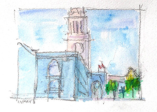 Ferry Building Embarcadero San Francisco Watercolor