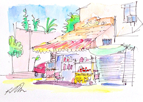 Tamale Shop in Golden Hill San Diego Watercolor
