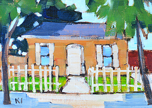 San Diego Victorian Cottage Oil Painting