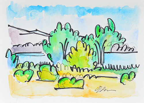 Lake Murray San Diego Watercolor