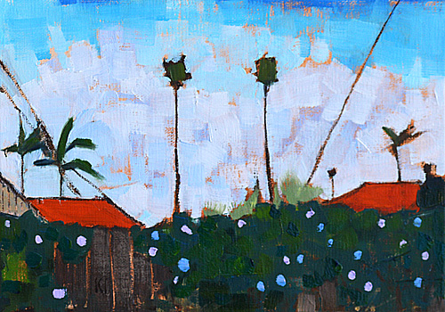 Ocean Beach Palm Trees, San Diego California Painting