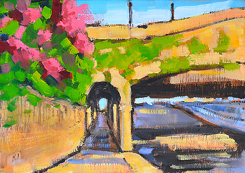 Bougainvillea in Santa Barbara Painting