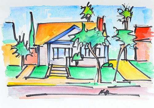 Craftsman House San Diego Watercolor
