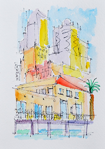 San Francisco Painting, Watercolor Embarcadero
