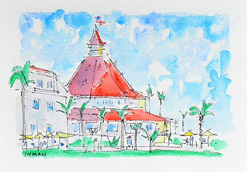 Hotel del Coronado Painting Watercolor San Diego
