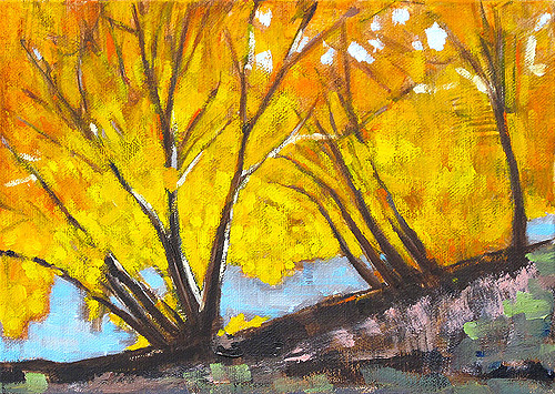 Fall Leaves Landscape Painting