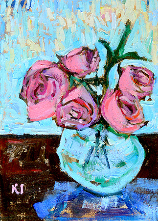 Pink Roses Still Life Painting