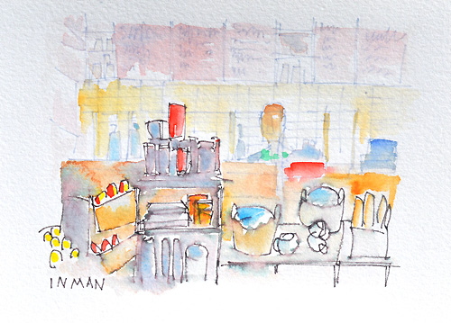Sunday at Starbucks Watercolor Painting
