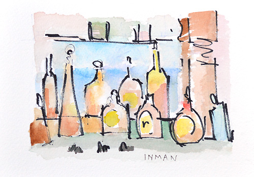 Bar Painting Bottles Watercolor