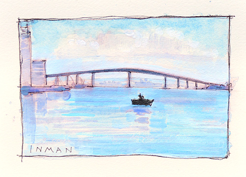 San Diego Coronado Bridge Watercolor Painting