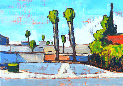 Parking Lot Palm Trees Escondido San Diego Painting